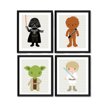 Star Wars Geometric Art Print Set - Toddler Room Decor - Children's Wall Art - Toddler Art  - Set of 4 Prints