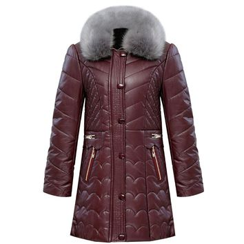 Women Winter Leather Jacket Mother Parkas 2017 New Ladies Elegant Fur Collar Cotton-padded Coat Middle Aged Female Outerwear 6XL