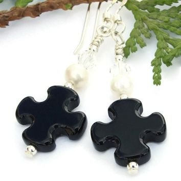 """Everlasting Love"" Black Onyx Cross Earrings Handmade Pearls Swarovski Christian Jewelry"