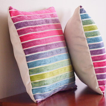 Striped Rainbow Pillow with Insert 14 x 14