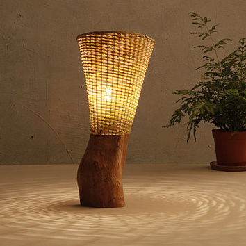Bamboo and Wood Desk lamp - wood base lamp - Romantic lights - Bamboo baskets -unique - Love Nature