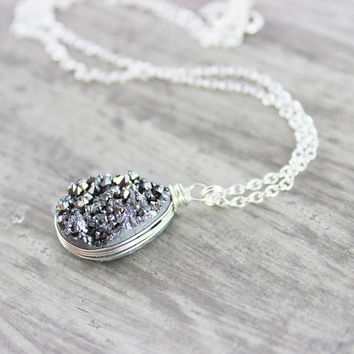 Druzy Gemstone Necklace, Sterling Silver Necklace, Silver Pendant Necklace, Teardrop Necklace, Wire Wrap Necklace, Druzy Quartz Necklace