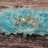 "Beautiful Aqua Rhinestone and Pearl ""Love"" Headband! / Baby Headbands/ Baby Girl Headband / Headband / Lace / Fancy / Infant / Baby Bows"
