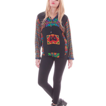 90s Abstract Colorful Button Up Blouse 80s Vintage Hip Hop Hipster In Living Color Shirt Womens Clothing Size Medium