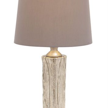 Benzara Contemporary Styled Glass Stainless Steel Table Lamp