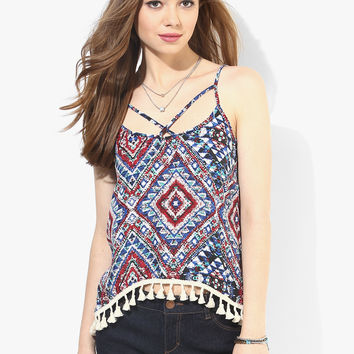 Blue and Red Spray Print Boho Swing Top with Lace Hem