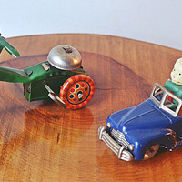 Vintage Tin Wind Up Toys, Tin Tricycle With Bell, Tin And Celluloid Car With Boy, Made in Japan And Occupied Japan