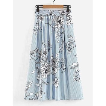Vertical-Striped Florals Skirt