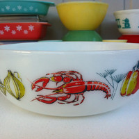 Pyrex JAJ Lobster round casserole dish!! English Pyrex serving/mixing bowl with colourful, Mid Century lobster and produce pattern 1962-65!