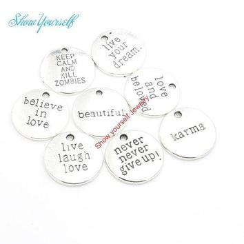 DCCKDZ2 12pcs/lot Antique Silver Plated Live your Dream Karma Believe in Love Charms Pendants for Jewelry Making DIY Handmade 20mm A111