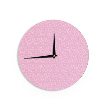 "Heidi Jennings ""Hugs & Kisses"" Pink Pattern Wall Clock"