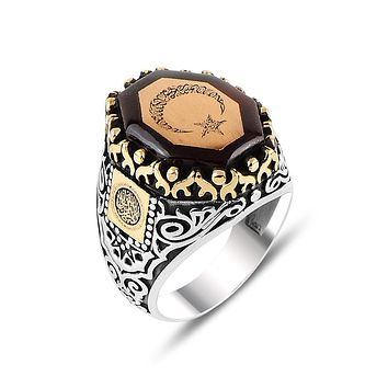 Mens amber gemstone angular ring 925 sterling silver with crescent star