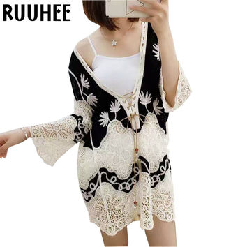 Female T-Shirt For Sexy Hollow Out Clothing Three Sleeve Tops Lace T Shirt Women New Fashion 2016 Summer