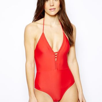 French Connection Exclusive To ASOS Sophie Backless Swimsuit