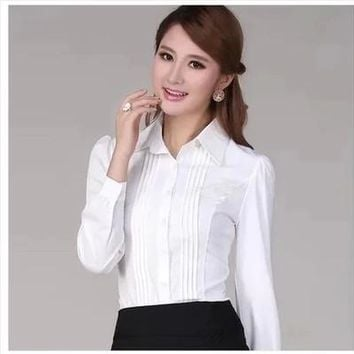 Puff Sleeve Pleated Turn-down Collar Shirt