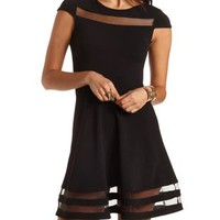 Organza Cut-Out Skater Dress by Charlotte Russe - Black