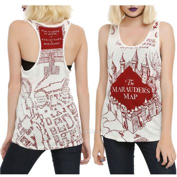 Licensed cool Harry Potter and the Deathly Hallows MARAUDERS MAP White Tank Top Shirt JRS. S L