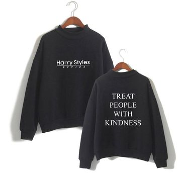 KPOP BTS Bangtan Boys Army  autumn and winter sale Harry StylesTreat People With Kindness letter pattern fashion cool hip hop casual high collar AT_89_10