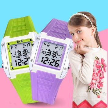 Square Cute Girls Watches Kids Watches Boys Digital Sport Children Watch Electronic Stopwatch Alarm Student Led Wristwatch
