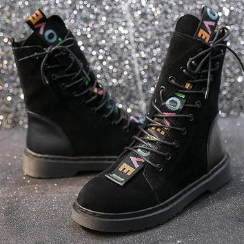 New Black Round Toe Flat Patchwork Cross Strap Fashion Ankle Boots