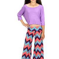 Lori & Jane Multicolor Chevron Palazzo Pants | Mod Angel