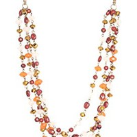 """Long Multi-Strand Amber-colored Beaded Layered Necklace, 24""""-26"""" (2"""" extender)"""
