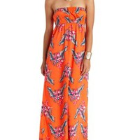 Printed Strapless Maxi Dress by Charlotte Russe