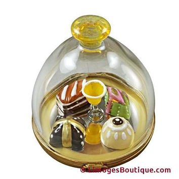 DOMED DESSERT TRAY WITH PASTRIES & CHAMPAGNE LIMOGES BOX