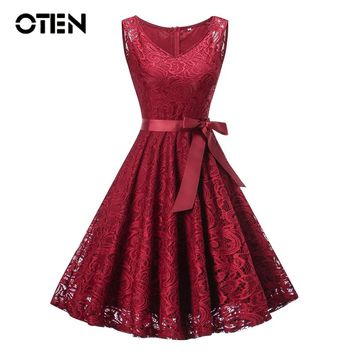 OTEN Summer lace women dress Sleeveless V Neck Back zipper Vintage Rockabilly Pin up Casual Party Skater dresses vestidos midi