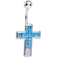 Paved Blue and Clear Gem Cross Belly Ring | Body Candy Body Jewelry