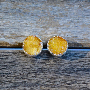Yellow Crystal Druzy Round Silver Plated Stud Earrings