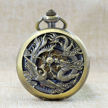 M067 Bronze Phoenix and Dragon Clamshell Hand Wind Mechanical Pocket Watch With Box Skeleton Gears Men Women Watch Gift