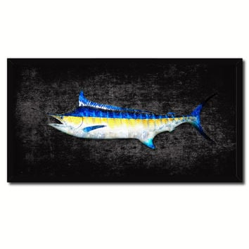 Swordfish Fish Black Canvas Print Picture Frame Gifts Home Decor Nautical Wall Art