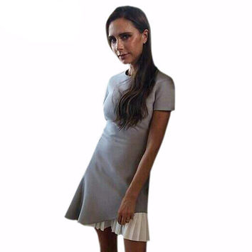 Victoria Beckham Patchwork Grey Ruffled Mini Dress