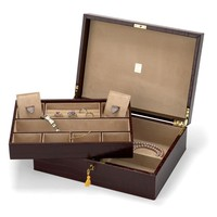 Grand Luxe Jewellery Case in Deep Shine Amazon Brown Croc & Stone Suede