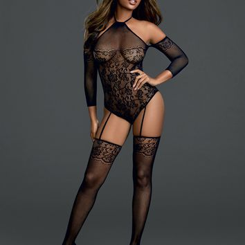 Cold Shoulder Lace Net Bodystocking