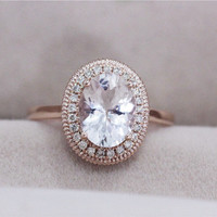 VS 7x9mm Oval Morganite Ring 0.13ct Diamond Engagement Ring 1.62ct Pink Morganite Wedding Ring Solid 14K Rose Gold Morganite Ring
