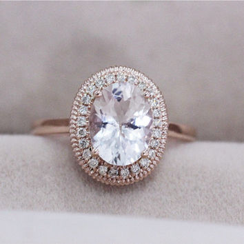 VS 7x9mm Oval Morganite Ring 0.13ct Diamond Engagement Ring 1. 08dab0053e29