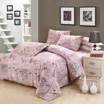 Cartoon lovely Tower pattern bedding sets pink linen Egyptian cotton Queen twin Full Double King size duvet cover set pillowcase