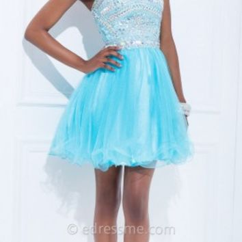 Geometric Embroidered Sleeveless Prom Dresses by Tony Bowls Shorts