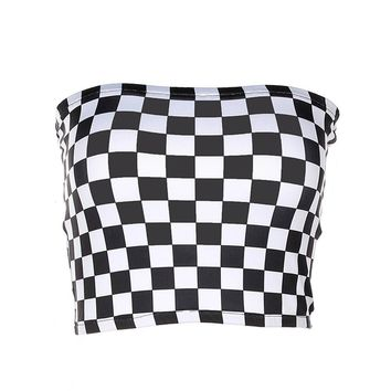 Fashion Women Sexy Black And White Plaid Checkboard Slash Neck Strapless Tube Top Cropped Bandeau Underwear Bras