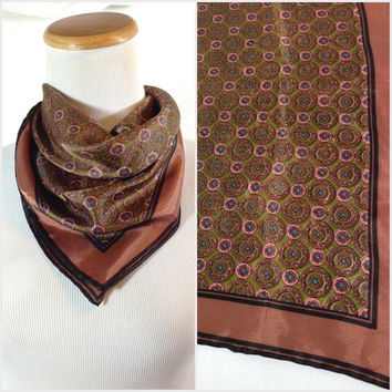 Vintage Neck Scarf Copper Pink Brown Mandala Print Square Neck Scarf Bohemian Gypsy Bandana Romantic Head Scarf Eclectic Style