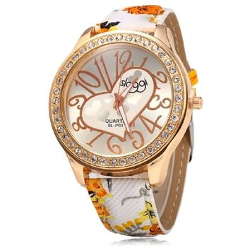 Female Casual Quartz Watch Leather Strap Big Arabic Numeral Scales Heart Decoration