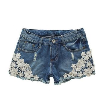 Women's Slim Fit Crochet Lace Hole Cute Denim Shorts