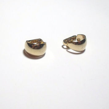 Vintage Gold Hoop earrings clip on costume jewelry classic style