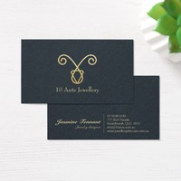 Handmade Jewelry Modern Navy Blue & Faux Gold Foil Business Card