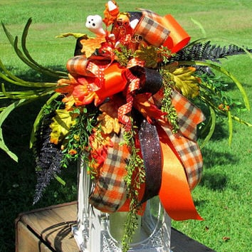 fall lantern toppers, Halloween lantern swag, fall floral swags, lantern swag autumn, halloween decor, fall table decor, mantel decor