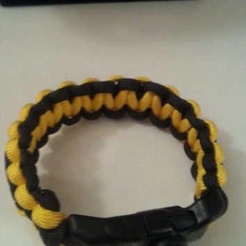 Yellow/black paracord parachute cord 550/325 bracelet with survival buckle or regular buckle