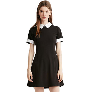Summer Women Dress New Fashion Short Sleeve Patchwork Knitting Cotton Turn Down Collar Mini Woman Clothes School Dress