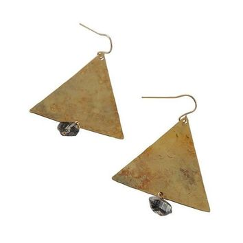 Trigangle Textured Herkimer Diamond Earrings